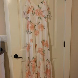 Lulus White and Pink Floral Maxi Dress